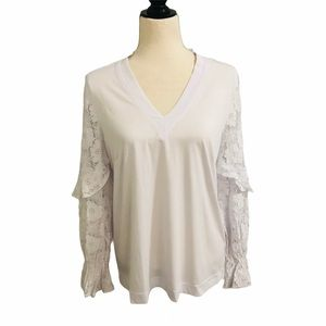 White Lace Long Sleeve Women's Shirt